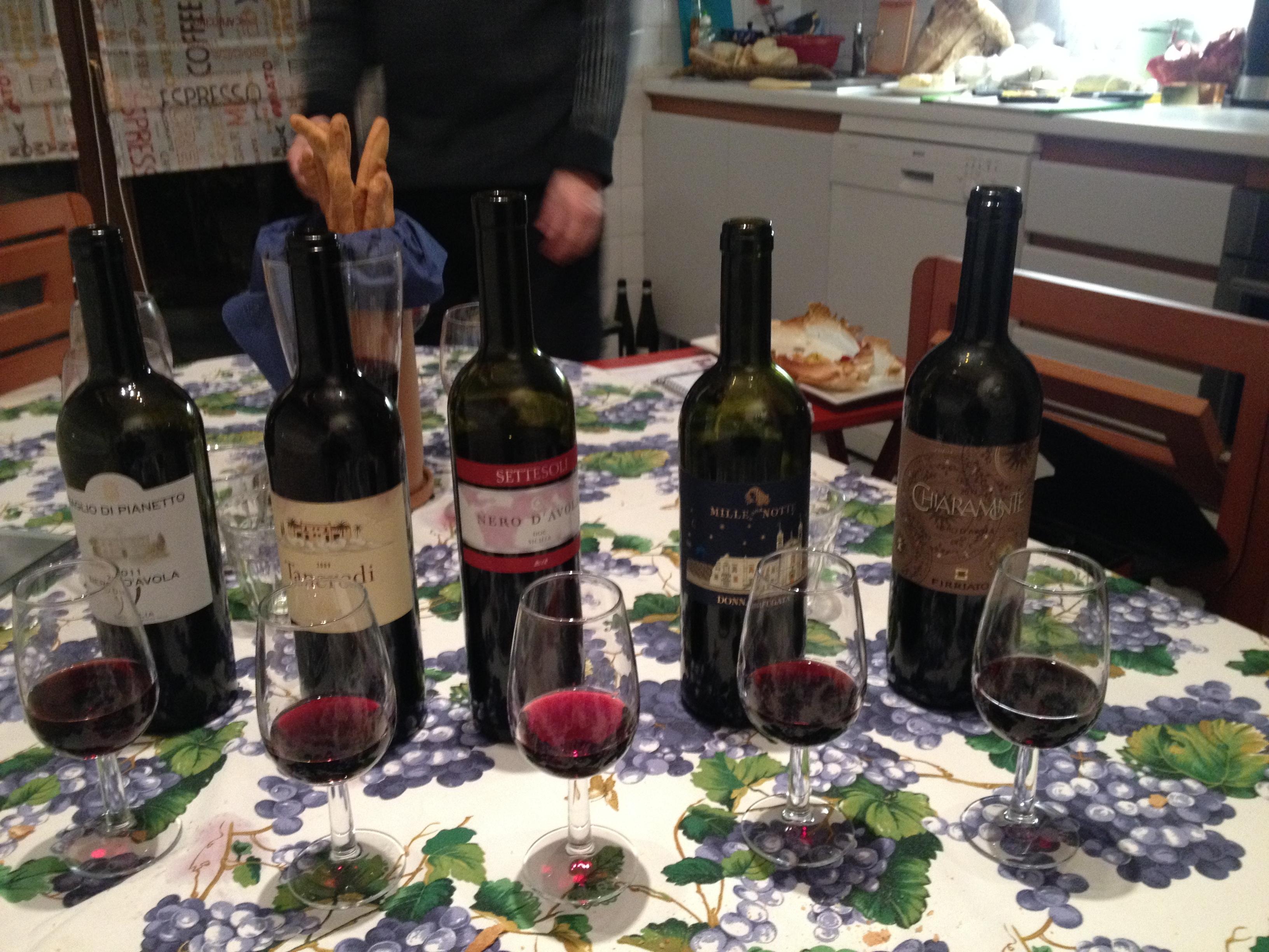 I cinque Nero d'Avola della degustazione